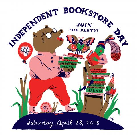 Independent Bookstore Day art by Carson Ellis of a Bear and a Butterfly with stacks of books and balloons