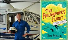 Tom Miller posed in front of a helicopter, with a book cover in neon colors featuring images of people flying through the clouds